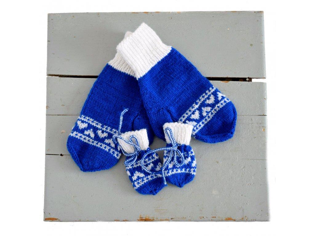 Rukavice pro mámu a miminko - modrá/bílá