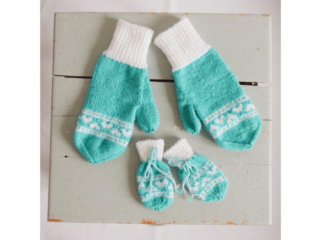 Rukavice pro mámu a miminko - tyrkysová/bílá