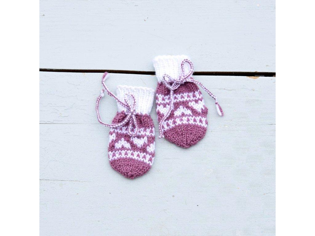 Rukavičky pro miminko - fialová/bílá
