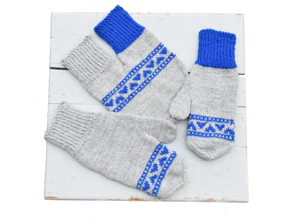 Partnerské rukavice - světle šedá/modrá