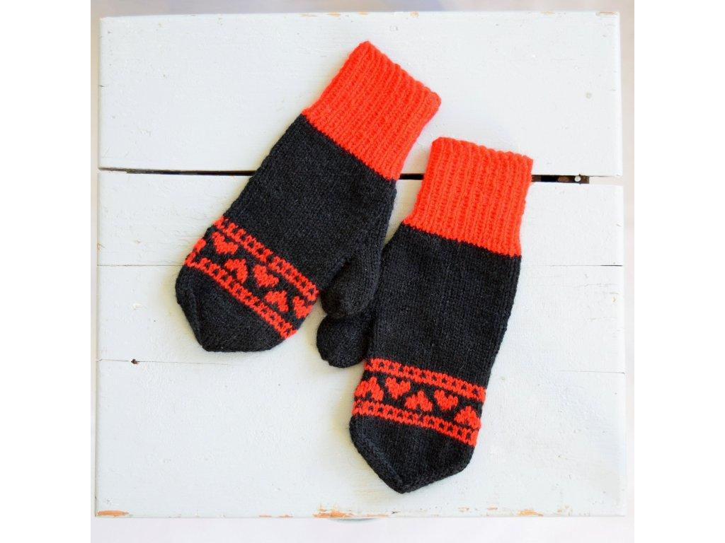Dámské rukavice - černá/červená