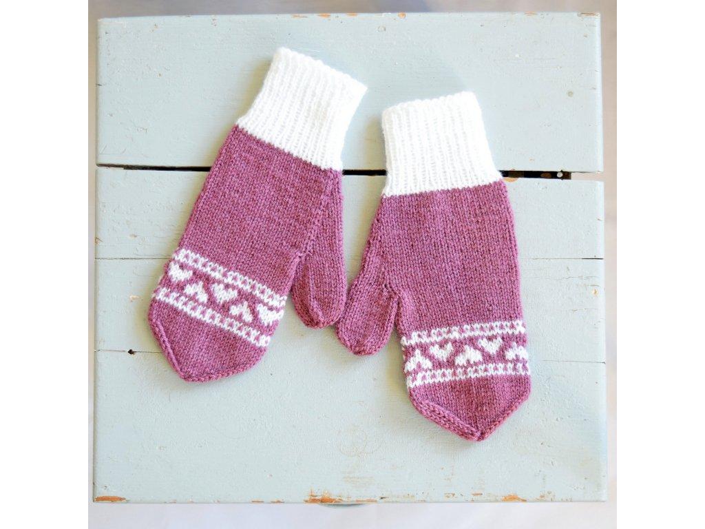 Dámské rukavice - fialová/bílá