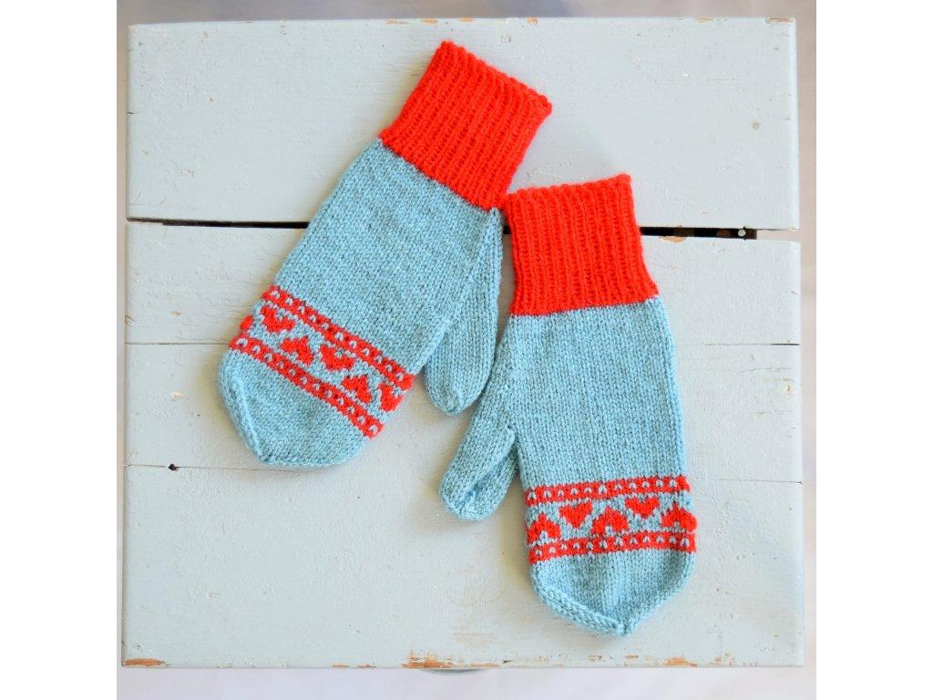 Dámské rukavice -  světle modrá/červená