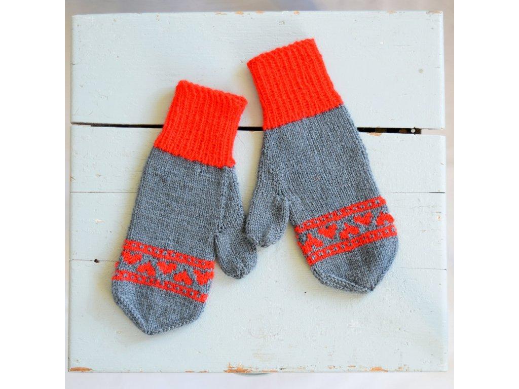 Dámské rukavice -  tmavě šedá/červená