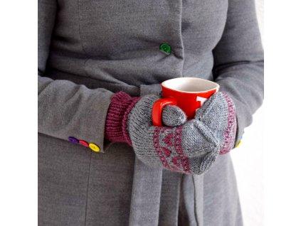 Dámské rukavice -  šedá/fialová