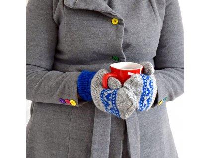 Dámské rukavice -  světle šedá/modrá