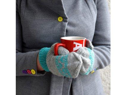 Dámské rukavice -  šedá/tyrkysová