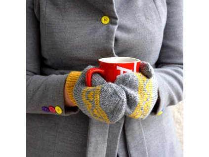 Dámské rukavice -  šedá/žlutá