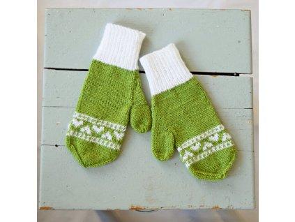 Dámské rukavice - světle zelená/bílá