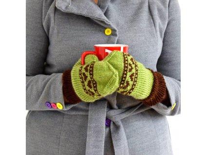 Dámské rukavice - zelená/hnědá