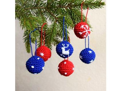 Sada vánočních minikouliček - 6 kusů - červená/modrá