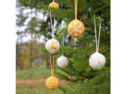 Sada vánočních minikouliček - 6 kusů - žlutá/smetanová
