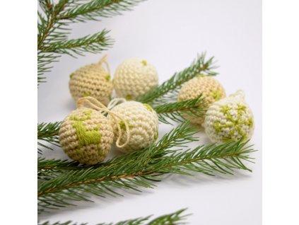 Sada vánočních minikouliček - 6 kusů - béžové