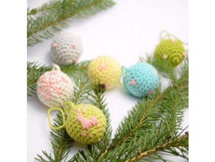 Sada vánočních minikouliček - 6 kusů - pastelové