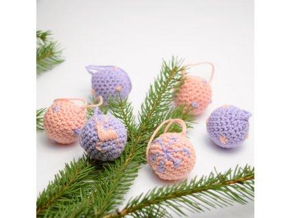 Sada vánočních minikouliček - 6 kusů - růžová/fialová