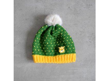 Čepice s bambulí - tygr - zelená/žlutá