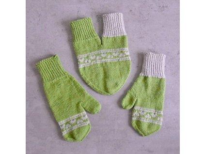 Partnerské rukavice - světle zelená/béžová