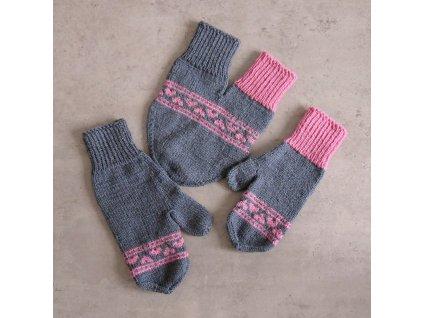 Partnerské rukavice - šedá/růžová