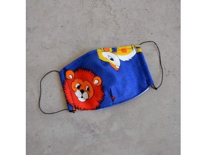 Bavlněná rouška dětská - lev a koloušek