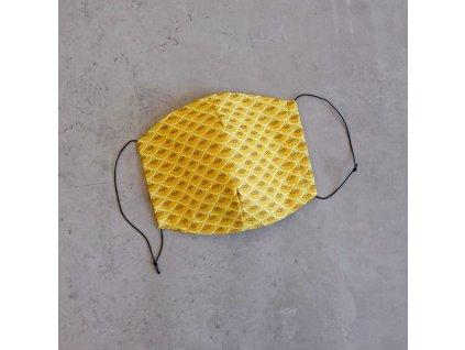 Bavlněná rouška dámská - žluté obloučky