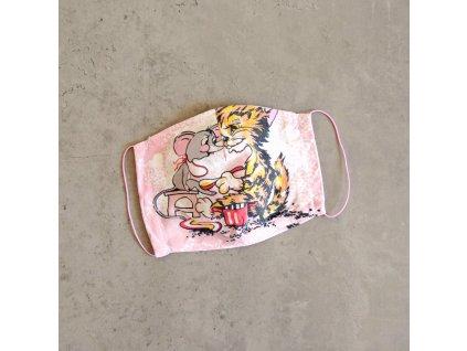 Bavlněná rouška dámská - kočka a myš