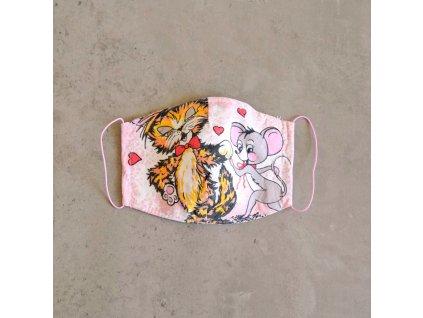Bavlněná rouška dětská - kočka a myš
