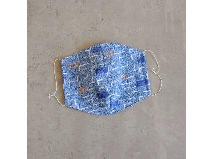 Bavlněná rouška pánská - modrá