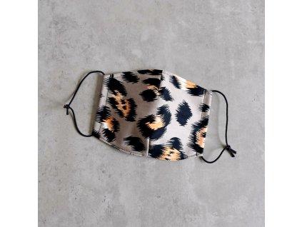 Bavlněná rouška dámská - levhart - šedá