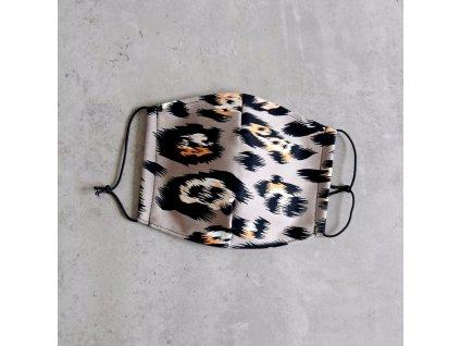 Bavlněná rouška pánská - levhart - šedá