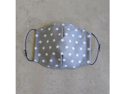 Bavlněná rouška dětská - šedá s hvězdičkami