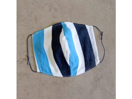 Bavlněná rouška pánská - modré pruhy