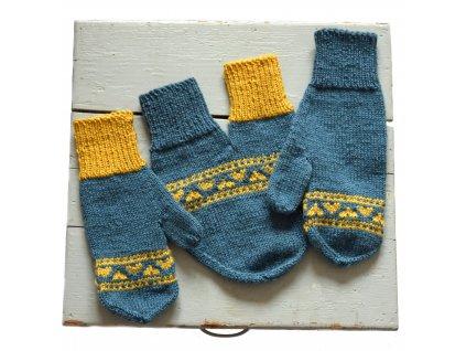 Partnerské rukavice - modrá/žlutá
