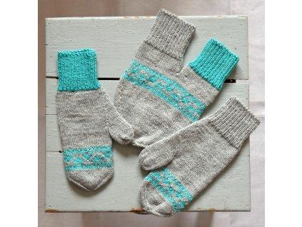 Partnerské rukavice - šedá/tyrkysová
