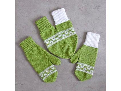 Partnerské rukavice - světle zelená/bílá