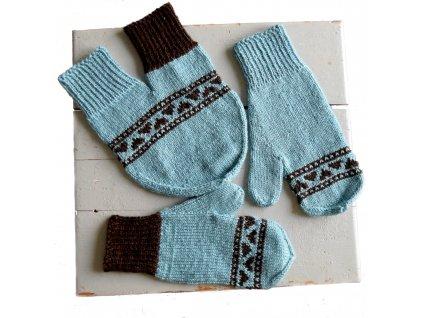 Partnerské rukavice - světle modrá/hnědá