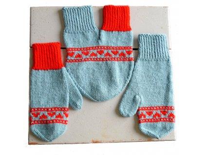 Partnerské rukavice - světle modrá/červená