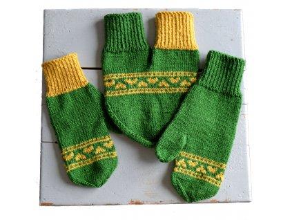 Partnerské rukavice - tmavě zelená/žlutá