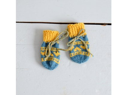 Rukavičky pro miminko - modrá/žlutá