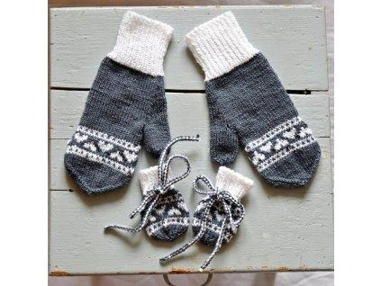 Rukavice pro mámu a miminko - šedá/bílá