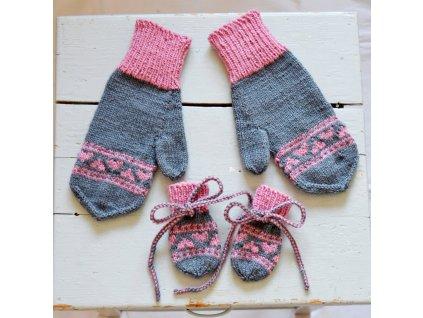 Rukavice pro mámu a miminko - šedá/růžová