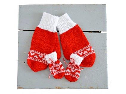 Rukavice pro mámu a miminko - červená/bílá