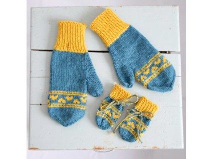 Rukavice pro mámu a miminko - modrá/žlutá