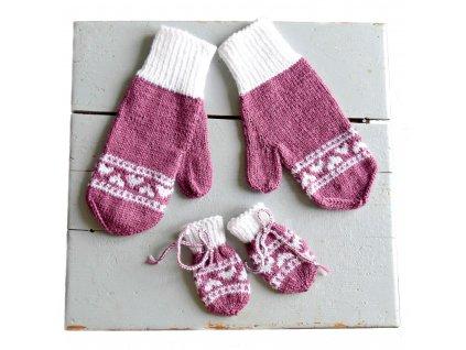 Rukavice pro mámu a miminko - fialová/bílá