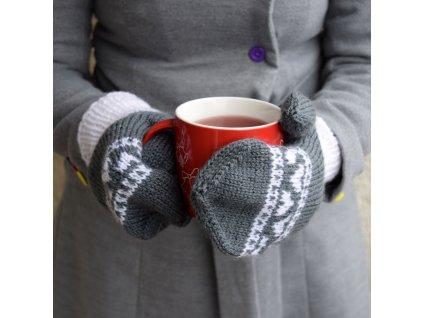 Dámské rukavice - šedá/bílá