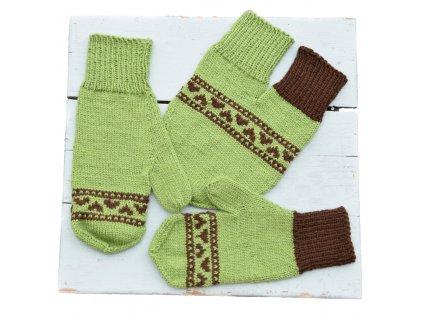 Partnerské rukavice - zelená/hnědá