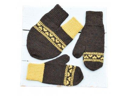 Partnerské rukavice - hnědá/žlutá
