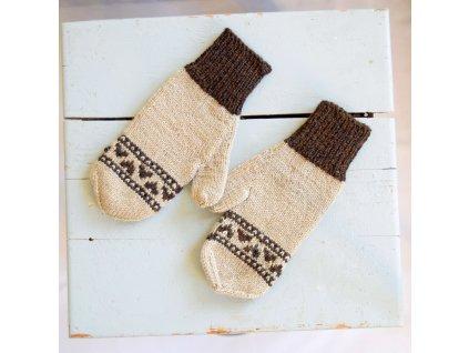 Dámské rukavice - béžová/hnědá