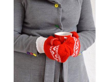 Dámské rukavice - červená/bílá