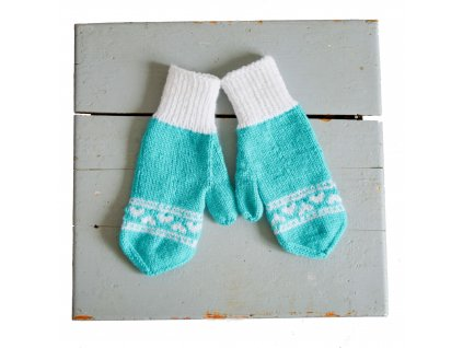Dámské rukavice - tyrkysová/bílá