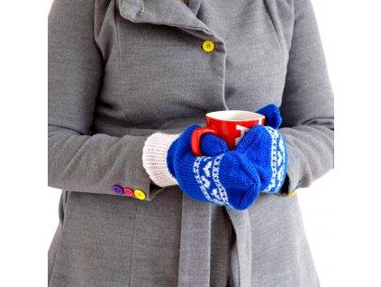 Dámské rukavice - modrá/bílá